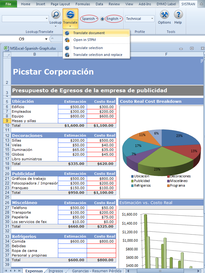 Excel Spanish Document before Translation